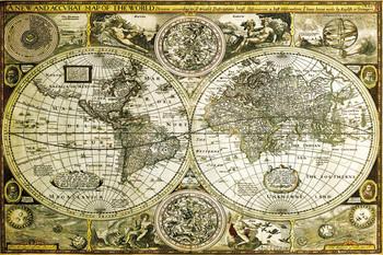 Pôster Mapa-múndi histórico