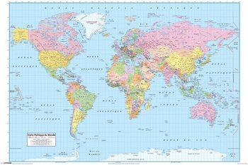 Pôster Mapa-múndi político (FR)