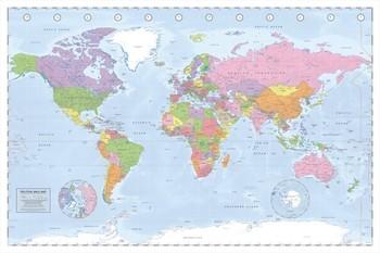 Pôster Mapa-múndi político