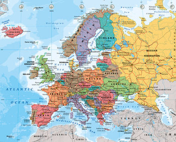 Pôster Mapa Político da Europa 2014