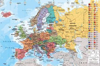 Pôster Mapa Político da Europa