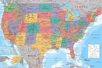 Pôster Mapa Politico dos EUA