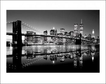 New York - Brooklyn Bridge at Night (B&W) Art Print
