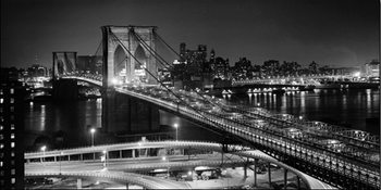 New York - Brooklyn bridge v noci Art Print