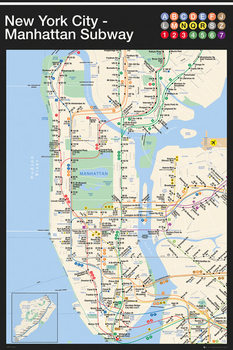 New York - Manhattan Subway Map Poster