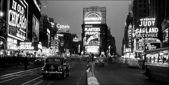 New York - Times Square illuminated by large neon advertising signs Art Print