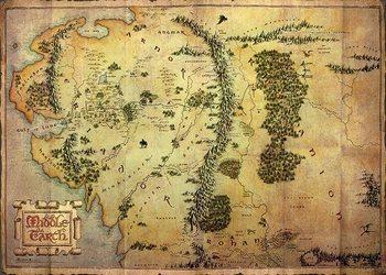 Pôster O Hobbit - mapa da Terra Média