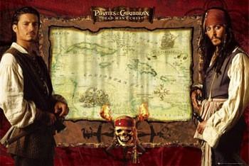 Pirates of Caribbean  - mapa Poster, Art Print