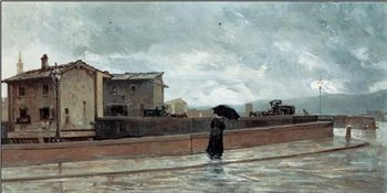 Ponte alle Grazie - Woman Crossing the Bridge, 1881 Art Print
