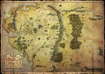 The Hobbit - Middle Earth Map (mettalic) Poster, Art Print