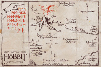 The Hobbit - The Lonely Mountain Map Poster, Art Print