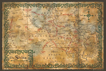 The Hobbit - The Shire Map Poster, Art Print