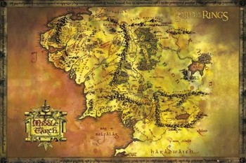 The Lord Of The Rings - Middle Earth Map Poster, Art Print