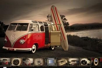 Poster VW Volkswagen Kombi - surfboard