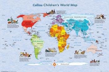 World Map for Kids Poster, Art Print