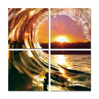 Falling Wave - Sunset Mounted Art Print