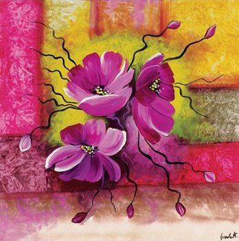 Purple Dahlias Reproduction d'art