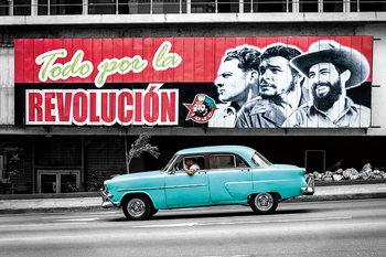 Quadro em vidro Cars - Blue Cadillac