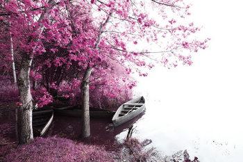 Quadro em vidro Pink World - Blossom Tree with Boat 2