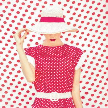 Quadro em vidro Retro Woman - Pink