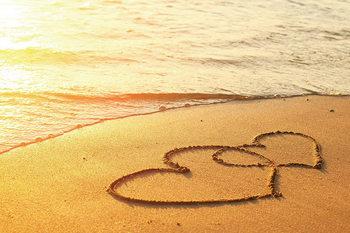 Quadro em vidro Sea - Hearts in the Sand