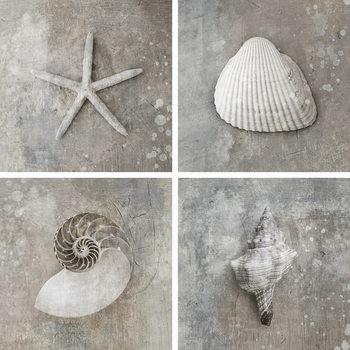 Quadro em vidro Sea - White Collage