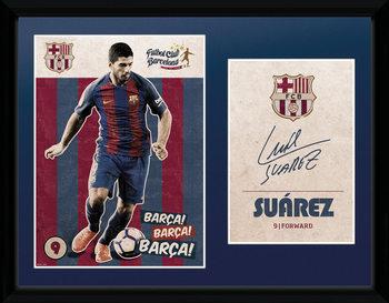 Barcelona - Suarez Vintage 16/17 Poster Emoldurado