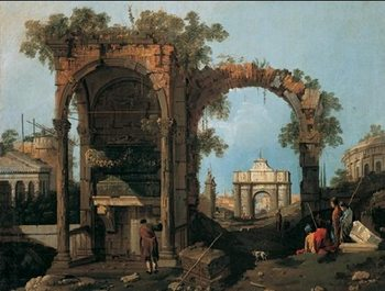 Reprodução do quadro Capriccio with Classical Ruins and Buildings