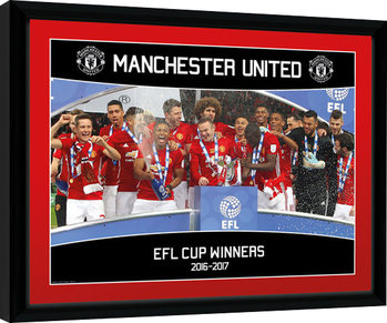 Manchester United - EFL Cup Winners 16/17 Poster Emoldurado