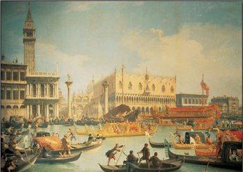 Reprodução do quadro Return of the Bucintoro to the Molo on Ascension Day, 1732