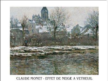 Reprodução do quadro The Church at Vetheuil under Snow, 1878