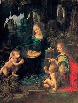 Reprodução do quadro The Virgin of the Rocks - Madonna of the Rocks