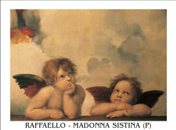 Raphael Sanzio - Sistine Madonna, detail – Cherubs, Angels 1512 Reproduction d'art
