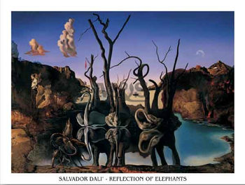 Reflection Of Elephants  Reproduction d'art