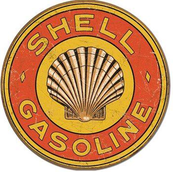 SHELL GASOLINE - 1920's Round Plaque métal décorée