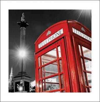 Lontoo brittiläinen punainen puhelinkoppi - Trafalgar Square Taide