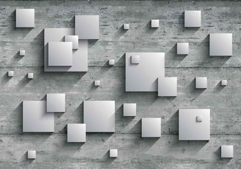 Abstract Modern Grey Silver Poster Mural