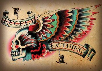 Aile de tatouage de crâne Poster Mural