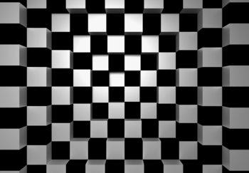 Black + White Squares Poster Mural