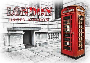 Caisse téléphonique de la ville de Londres Rouge Poster Mural