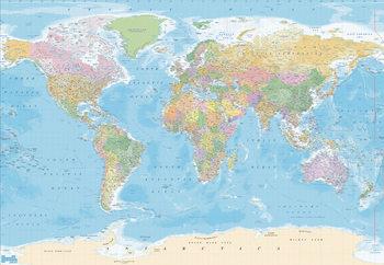 Carte du monde - Political Poster Mural
