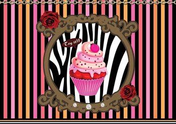 Cupcake Stripes Poster Mural