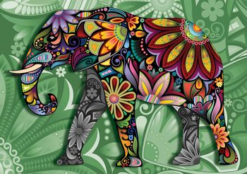 Elephant Flowers Abstract Colours Poster Mural