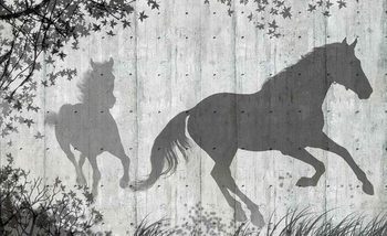 Horses Tree Leaves Wall Poster Mural