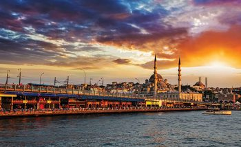 Istanbul City Sunset Poster Mural