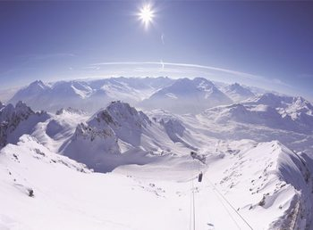 Les Montagnes en hiver Poster Mural