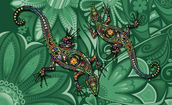 Lizards Flowers Abstract Colours Poster Mural