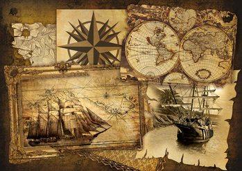 Navires et cartes vintage Poster Mural