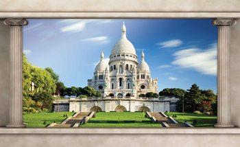 Paris Sacre Coeur Vue de fenêtre Poster Mural
