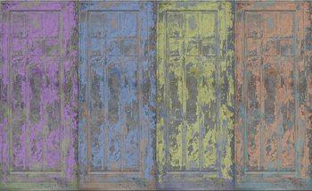 Portes rustiques en bois peint Poster Mural